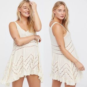 Free People Voile and Lace Trapeze Slip Dress Tea